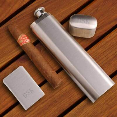 Personalized Flask and Cigar Case - Lighter - Brushed Silver - Gift Set