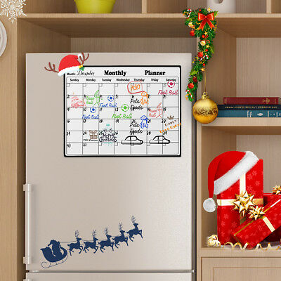 Dry Erase Magnetic Weekly Calendar Shopping List Planner Memo Board For Fridge