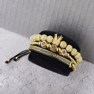 Luxury Men's Micro Pave CZ Ball Crown Braided Adjustable Bracelets Christmas - Christmas Crowns