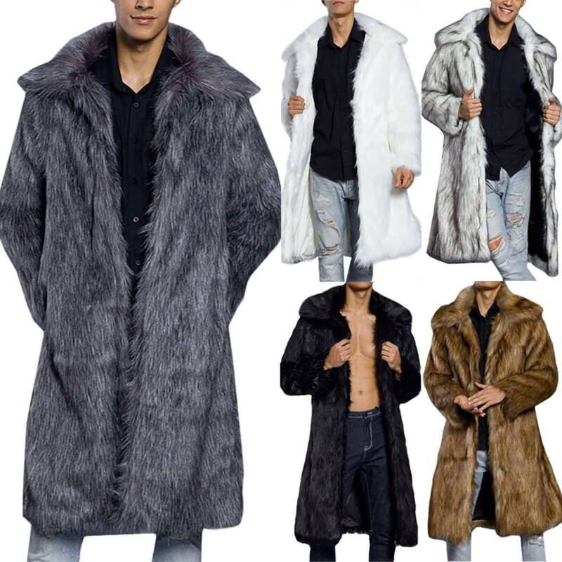 Mens Faux Fur Winter Warm Thicken Long Jacket Trench Coat Ov