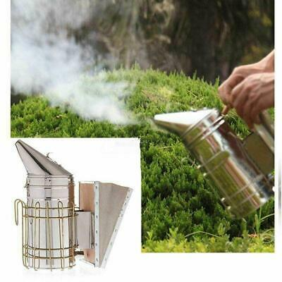 Stainless Steel Bee Hive Smoker W Heat Shield Board Beekeeping Protection
