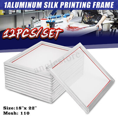 12 Pack - 18 X 22 Aluminum Frame With 110 Mesh Silk Screen Printing Screens Us