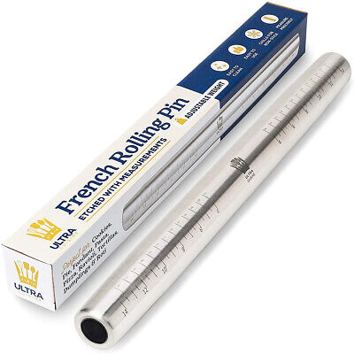Stainless Steel French Rolling Pin w/ Measurements Nonstick Adjustable Weight