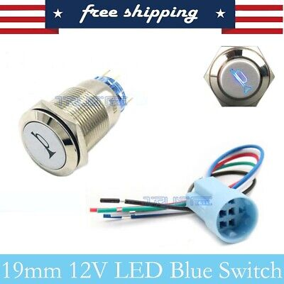 12v 19mm Momentary Metal Push Button Led Light Horn Switch With Socket Plug