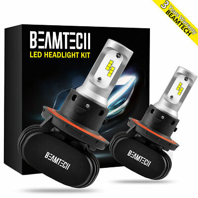 BEAMTECH H13 9008 LED Headlight Bulb CSP Kit 8000LM 50W 6500K Dual High Low Beam Ford Mustang Dual Led