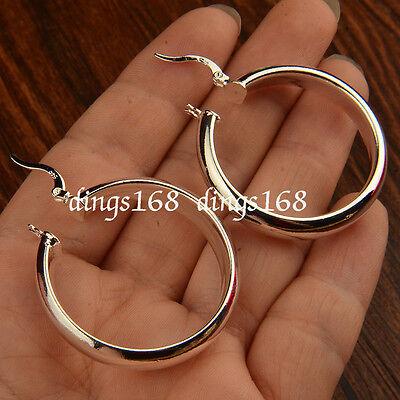 (925 Sterling Silver Hypo-Allergenic 30mm Medium-Size 5mm Flat Hoop Earrings HG2)
