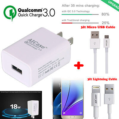 Quick Charge 3 0  Qualcomm Certified 18W High Rapid Usb Wall Charger Adapter Us