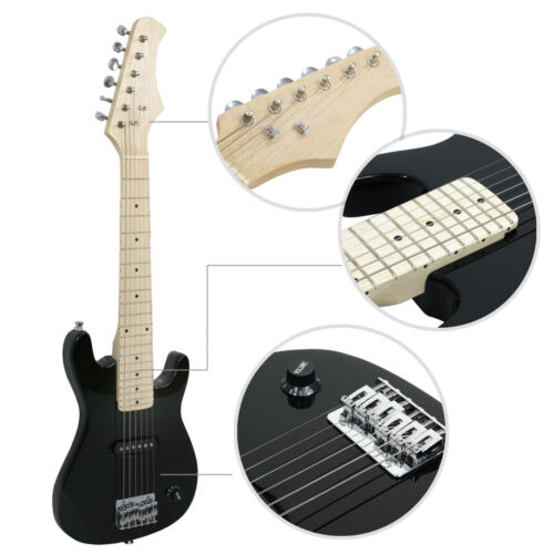 30″ Electric Guitar Kids Beginner Guitar With Amp Case Accessories Pack Black Electric Guitars