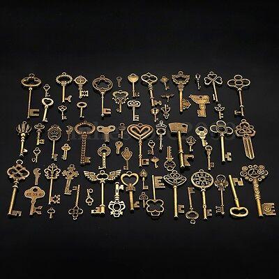 Set of 69 Antique Vtg old look Ornate Skeleton Keys Lot Pendant Fancy Heart Bow