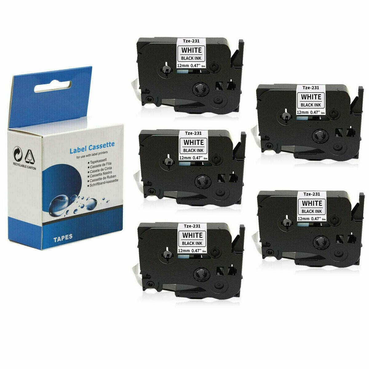 5x SCHRIFTBAND KASSETTE 12mm für BROTHER TZ-231 P-Touch 2430PC Black Edition