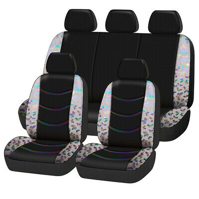 Universal Beige Butterfly Car Seat Covers Breathable Mesh Front Rear Full Set