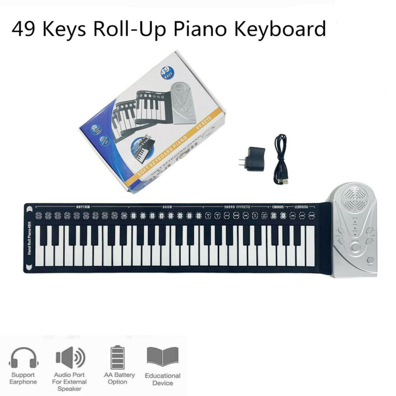 Soft Silica Roll Up 49-Key Piano Folding Portable Electronic  Hand Rolling Gifts