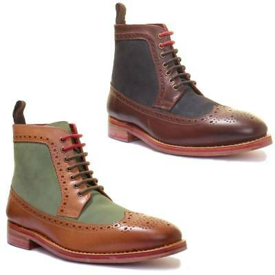 Justin Reece Connor Mens Leather Formal Brogue Ankle Boots Sizes UK 6 - 12