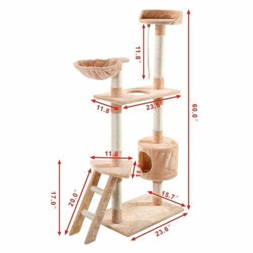 """52""""/60""""/36""""/80"""" Cat Tree Play House Tower Condo Furniture Scratch Post Toy Bed"""