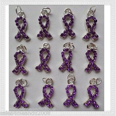 12 Purple Rhinestone Ribbon Cancer Awareness Charms Jewelry Making P9 (Ribbon Awareness)
