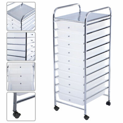 Clear 10 Drawer Rolling Storage Cart Scrapbook Paper Office School - Scrapbook Paper Storage