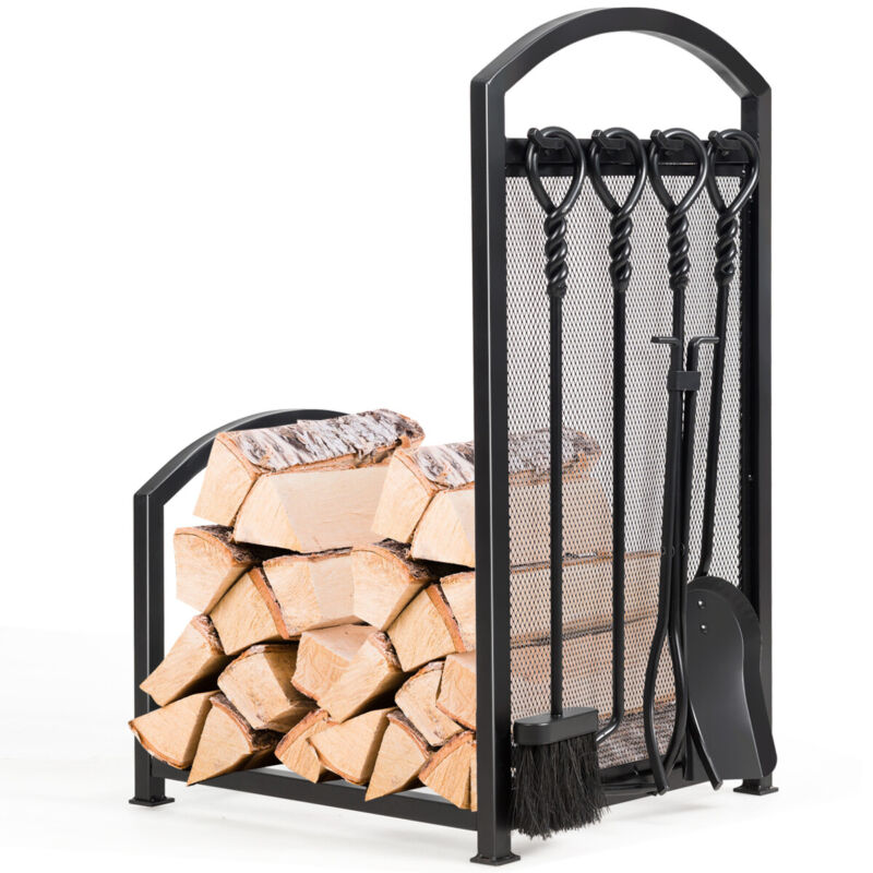Firewood Log Rack with 4 Tools Set Firewood Holders for Fireplace Indoor Outdoor