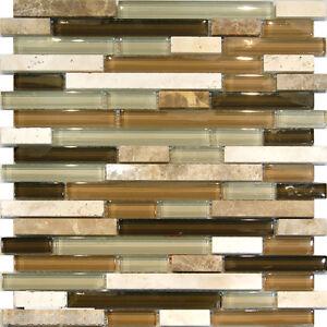 travertine stone green brown glass linear mosaic tile backsplash