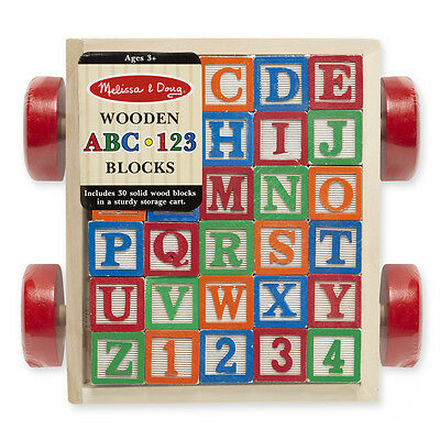 CLASSIC ABC 123 BLOCK CART # 1169  ~ 30 Wooden Blocks~ Melissa and Doug