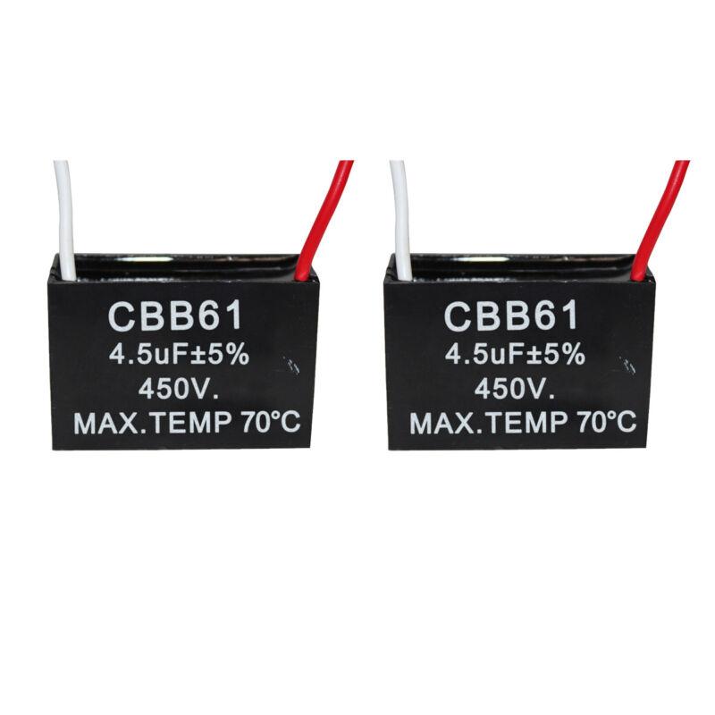 2PCS 450V 4.5UF CBB61 Ceiling Fan Motor Running Capacitor 2 Wire 50/60 Hz
