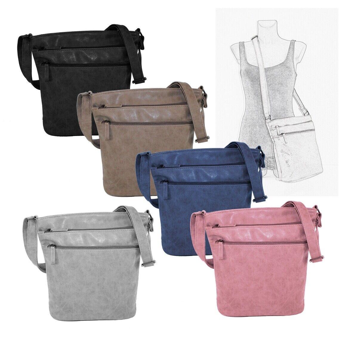 New Bags Umhängetasche Damen Handtasche  mit 2 Vorfächern Crossbag