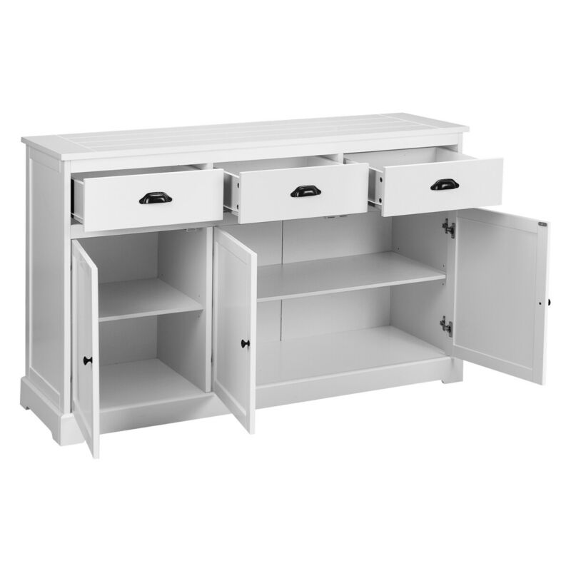 Classic 3-Drawer Sideboard Buffet Cabinet Home Kitchen Storage Cupboard White