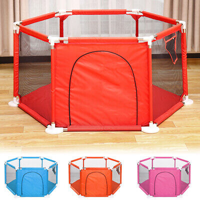 Baby Playpen Fence 6 Sides with Round Zipper Door Play Pen for Toddlers Baby US