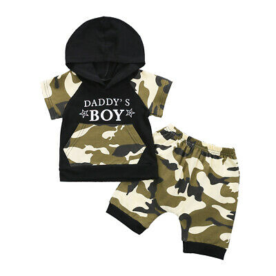 Newborn Kid Baby Boy Clothes Camo Hooded Tops T-shirt + Shorts Pants Outfits Set