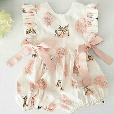 US Fashion Sweet Newborn Baby Girl Deer Romper Bodysuit Jumpsuit Clothes Outfits - Sweet Girl