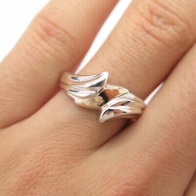 925 Sterling Silver 2-Tone Vintage Ribbed Leaf Ring Size 8