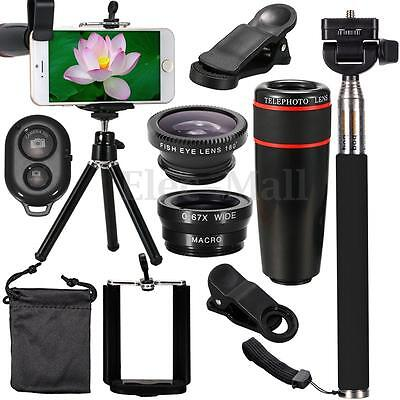 Phone Camera 8X Telephoto Lens Kit Clip & Selfie Stick& Tripod & Remote & Holder