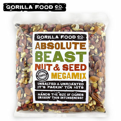 Gorilla Food Co. Absolute Beast Unsalted Mixed Nuts and Seeds Trail Mix Raw 2Lbs