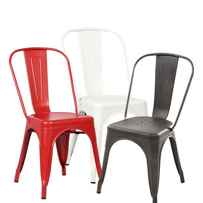 (Set of 4 Tolix Style Dining Side Chair Stackable Bistro Cafe Metal Stool Vintage)