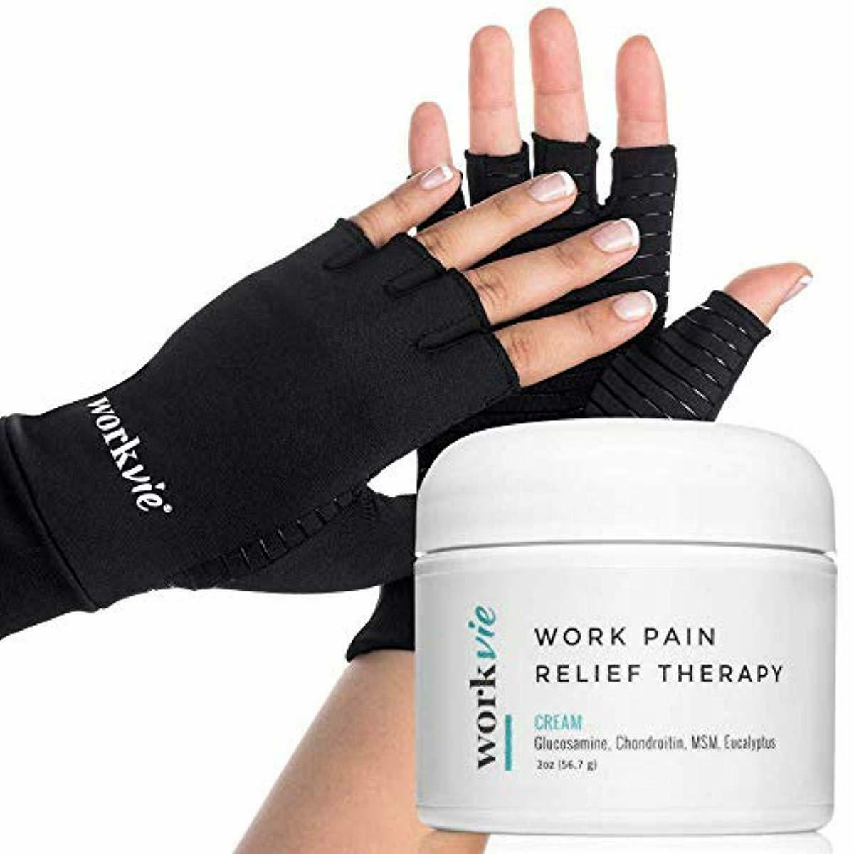 Workvie Pain Relief Cream and Copper Compression Gloves Set