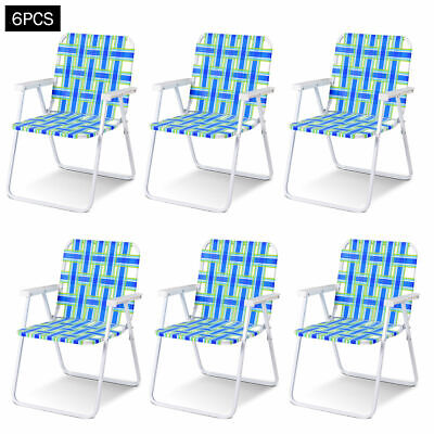 6pcs Folding Beach Chair Camping Lawn Webbing Chair Lightweight 1 Position Blue