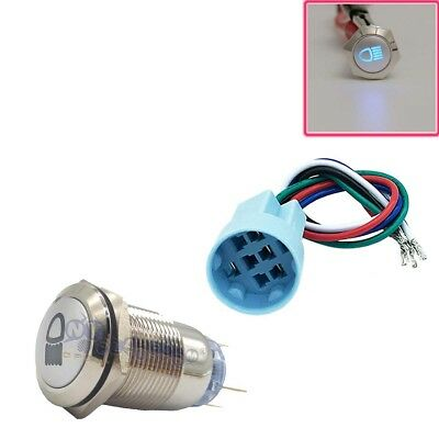 19mm Blue Led Push Button Metal Latching Switch Car Fog Lights Onoff Socket