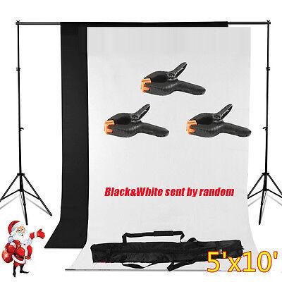 5' x 10' Photography Backdrop Stand Background Photo Kit Muslin Black/White USA
