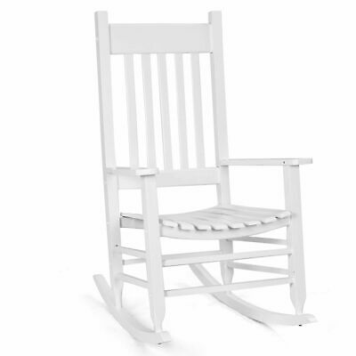 Solid Wood Rocking Chair Porch Rocker Indoor Outdoor Deck Patio Backyard -