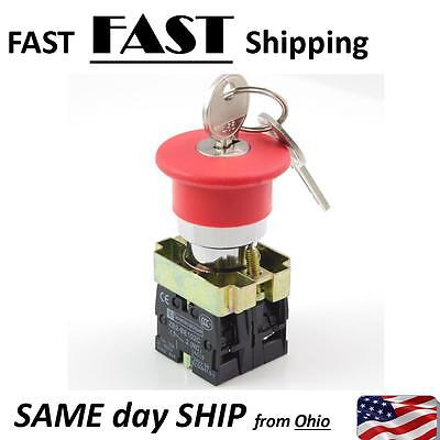 Hd Industrial Control Emergency Lockout Button Switch With Key - Fast Ship