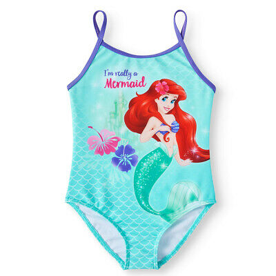 Disney Princess Ariel Little Mermaid One Piece Swimsuit Bathing Suit Size 4, 5/6 (Disney Princess Bathing Suit)