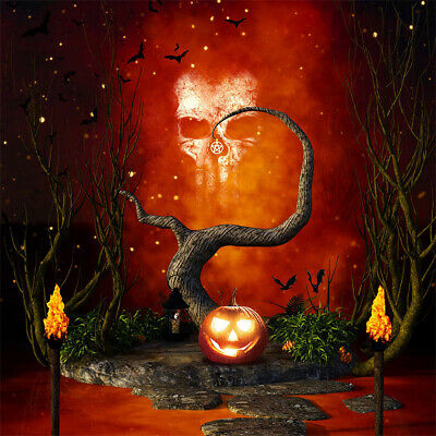 Spooky Halloween Creepy Scene Skull Pumpkin Dead Tree Photo Background Backdrop - Halloween Spooky Backgrounds