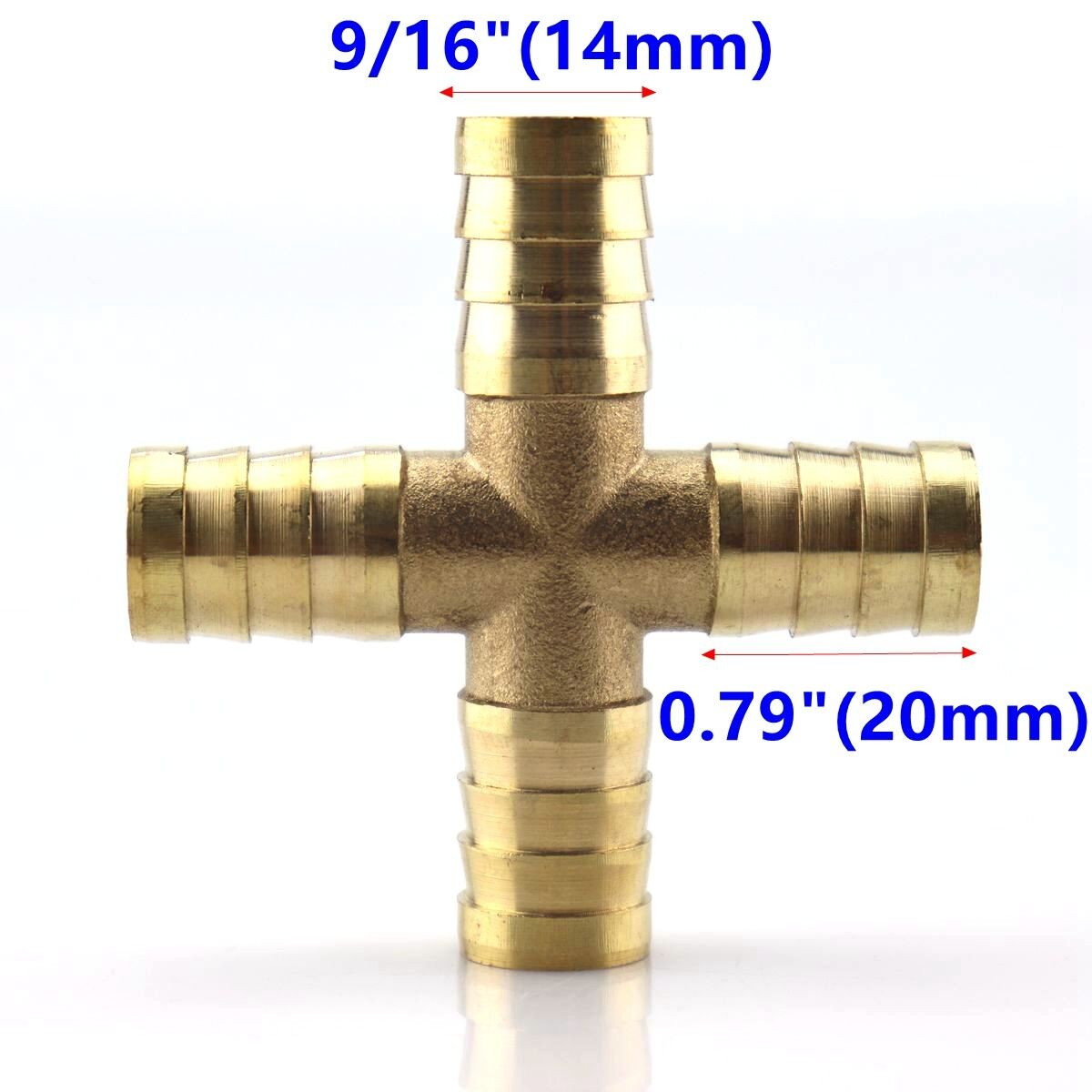 "1X HOSE BARB 4 WAY Cross Brass Pipe Fitting Thread Gas Fuel Water Air 9/16"" 14mm"