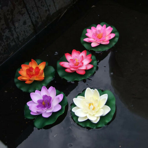 5x Artificial Lotus Flowers Decor Floating Pond Water Lily Indoor//Outdoor Decor