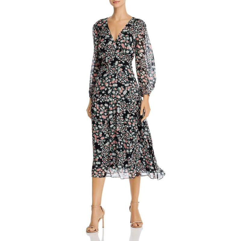 Shoshanna Womens Aceline Puff Sleeve Floral V-Neck Midi Dress BHFO 6365