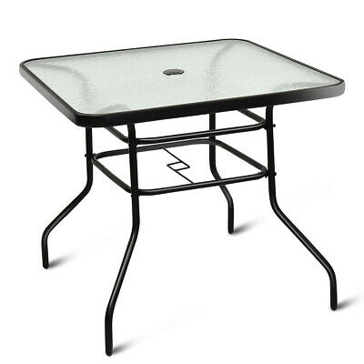 "32"" Patio Square Table Tempered Glass Steel Frame for Outdoo"