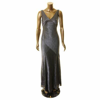 LAUREN RALPH LAUREN NEW Women's Metallic V Neck Flowing Ball Gown Dress TEDO