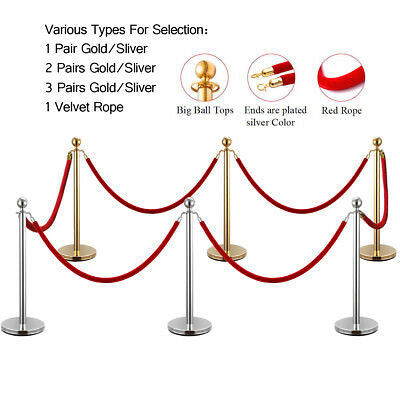 2 4 6 Pcs Gold Silver Stanchion Post Polished Steel Queue Barrier Rope Belt Set