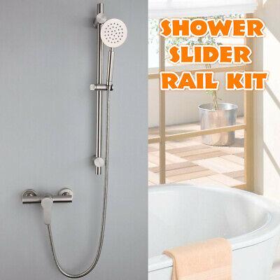 Stainless Steel Adjustable Shower Slider Riser Rail Bar Kit Head Hose Holder Set