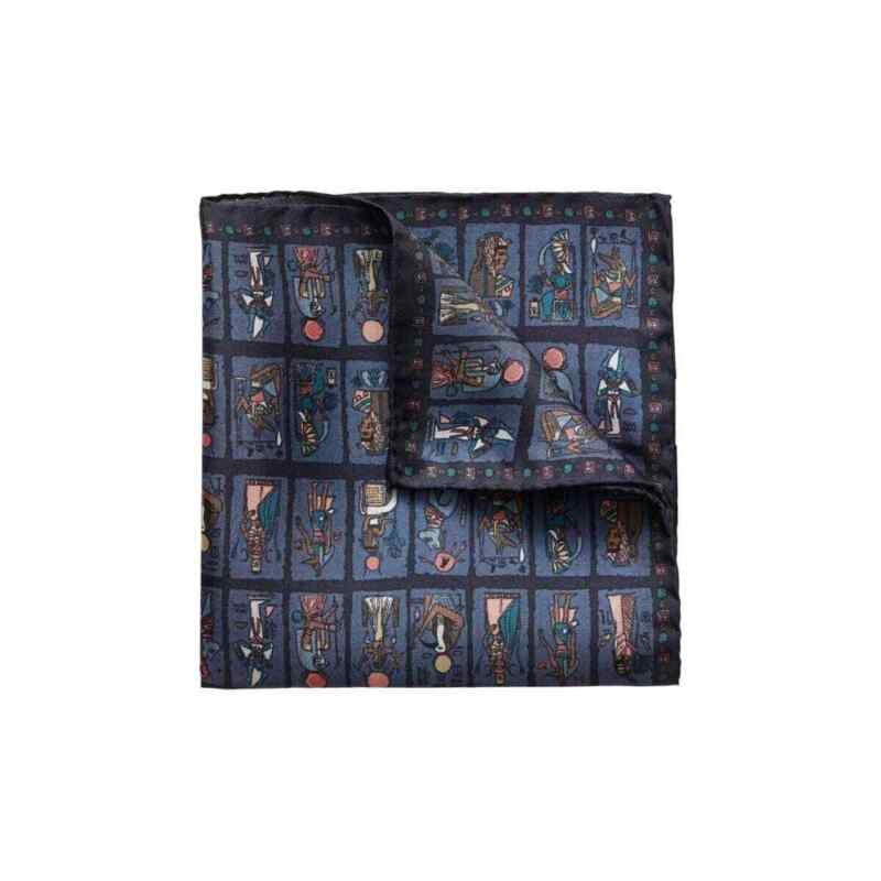 ETON SHIRTS - LIMITED EDITION DARK BLUE TARO PRINT POCKET SQUARE