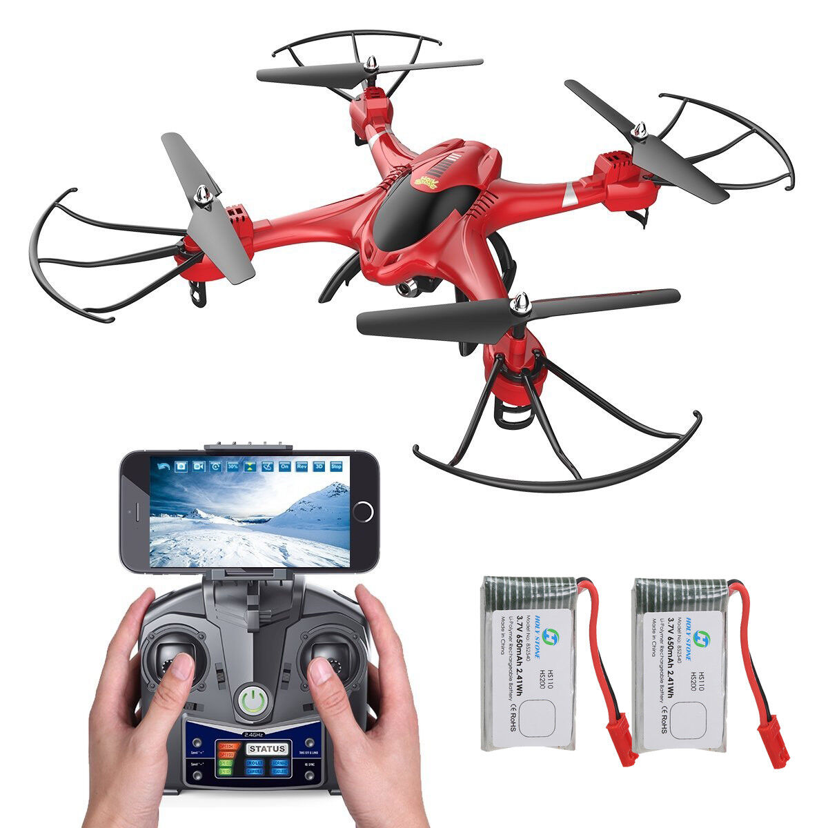 Holy Stone HS200 RC Drone with FPV 720P HD WIFI CAMERA Quadcopter 2 Battery RED